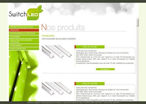 webdesign du site Switchled